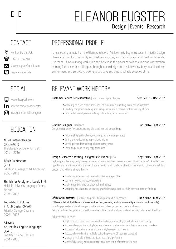 Eleanor Eugster - Admin CV